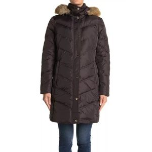 NWT MICHAEL Michael Kors Missy 3/4 Down Faux Fur Trim Jacket Coat